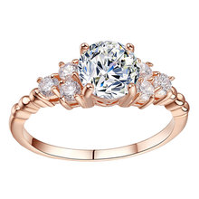 Luxury 18K Rose Gold ring Cubic Zirconia Wedding Ring Crystal Engagement Zircon CZ Diamond Rings for Women Fashion Jewelry
