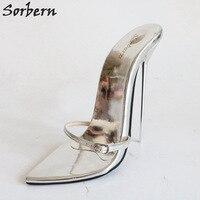 Sorbern супер тонкий металлический Босоножки на высоких каблуках Для женщин ночного клуба вечерние каблуки женские шлепанцы T Показать сандал