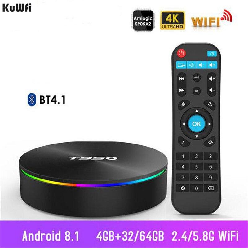 KuWFi Smart TV Box Android TV décodeur 4G 32G 2.4G & 5.8G Wifi Bluetooth 4.1 S905X2 Quad Core 4 K 1080 P lecteur Netflix Full HD