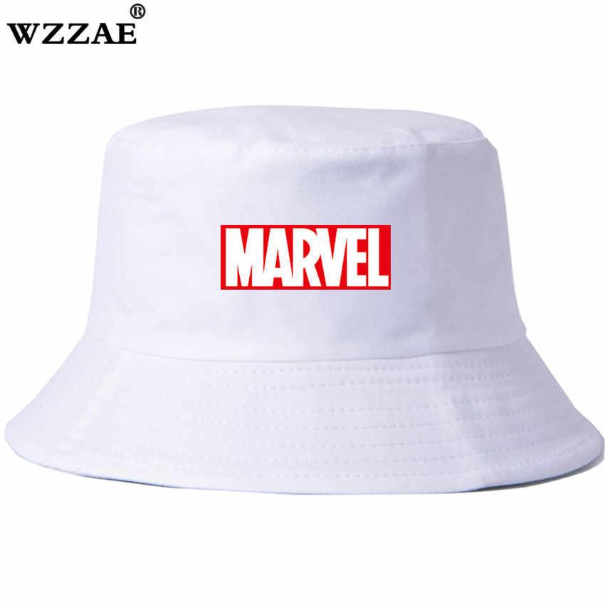 a12fb86775e 2018 New Marvel Men Bucket Hats Women Letter Print Bob Caps Fashion Street Hip  Hop Cap