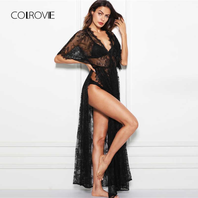 COLROVIE, черное платье с v-образным вырезом и запахом, прозрачное кружевное Ночное платье без нижнего белья, набор 2018, сексуальные ночные рубашки, женская одежда для сна