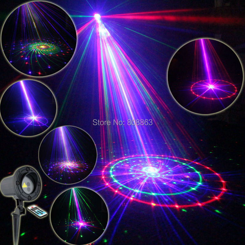Eshiny Outdoor Waterproof RGB Laser 36 Patterns Projector Full Holiday House Party Xmas Tree DJ Wall Landscape Garden Light T61 full house