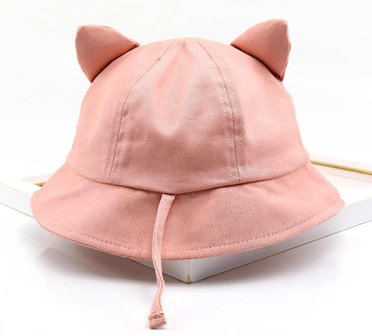 2019 The New Style Cotton Lovely Cat Solid Color Bucket Hat Fisherman Hat  outdoor travel hat 439bf1b8c803