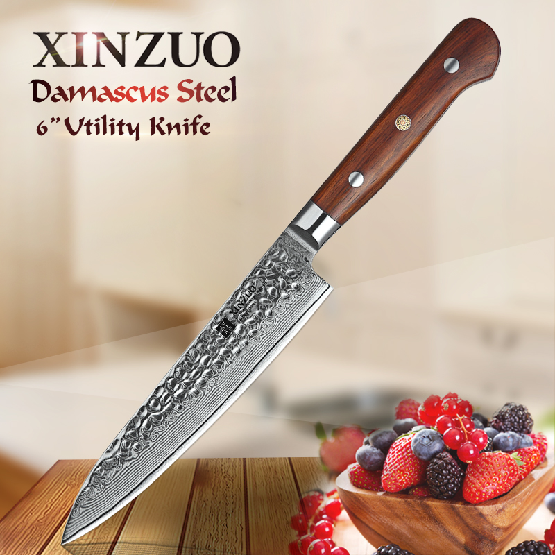 XINZUO 6 Inch Utility Knife Japanese Damascus Steel Vg10 Kitchen Knives Professional Handmade Chef Peeling Knife Rosewood Handle