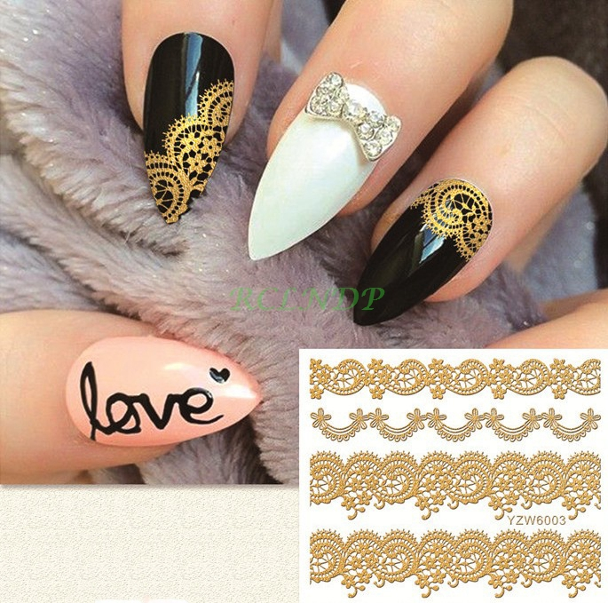купить gold goldden sticker for nails art all decorations sliders lace adhesive nail design decals manicure lacquer foil accessoires 14 дешево