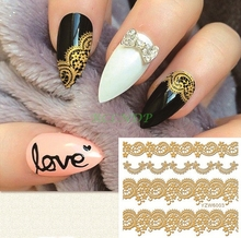 gold goldden sticker for nails art all decorations sliders lace adhesive nail design decals manicure lacquer foil accessoires 14