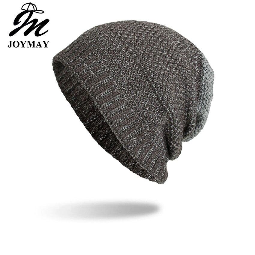 Joymay 2018 dos vías llevaba sombrero gorros de invierno desordenada Color Unisex llano cálido suave cráneo casquillo que hace punto sombreros al por mayor WM086