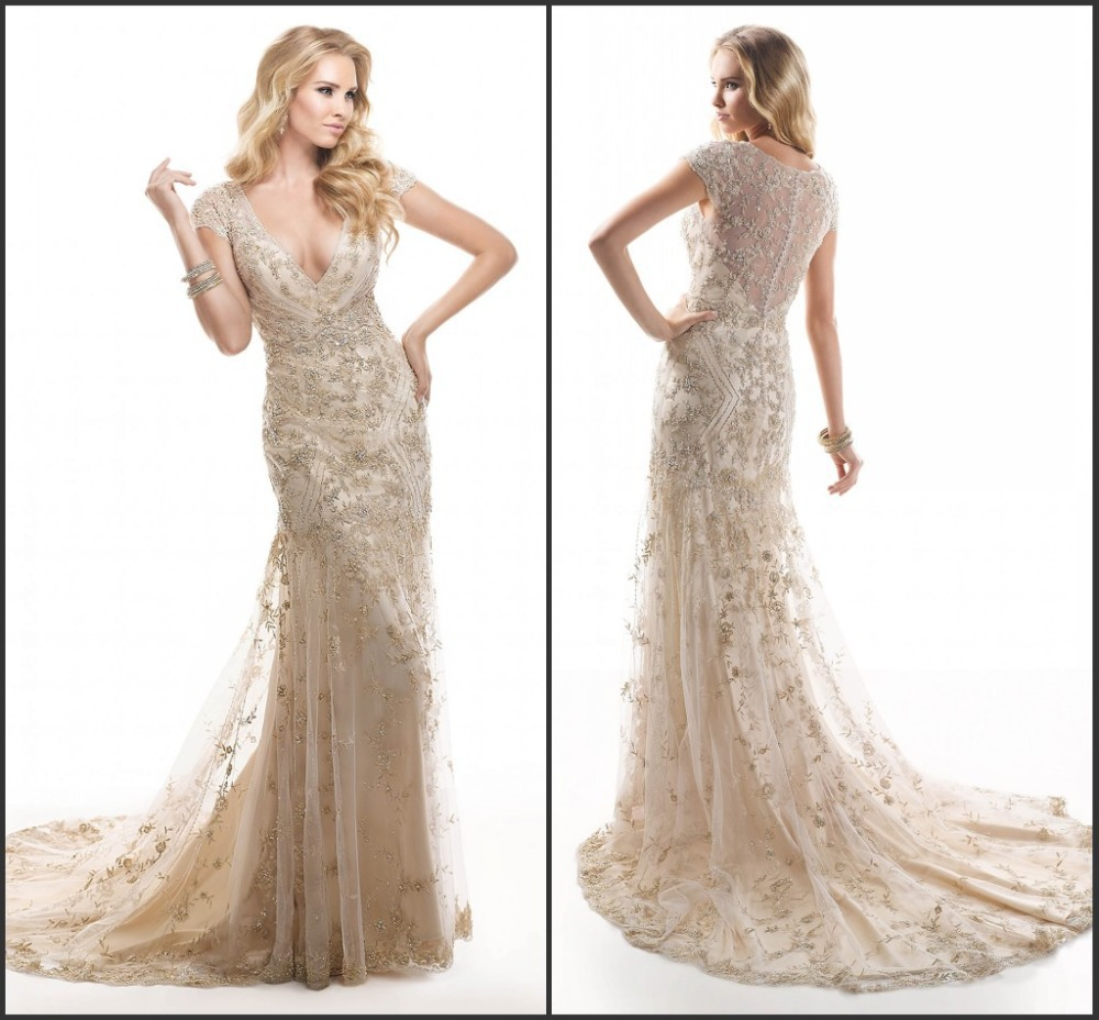 Cap sleeve sexy wedding dress champagne color lace in for Champagne colored wedding dresses with sleeves