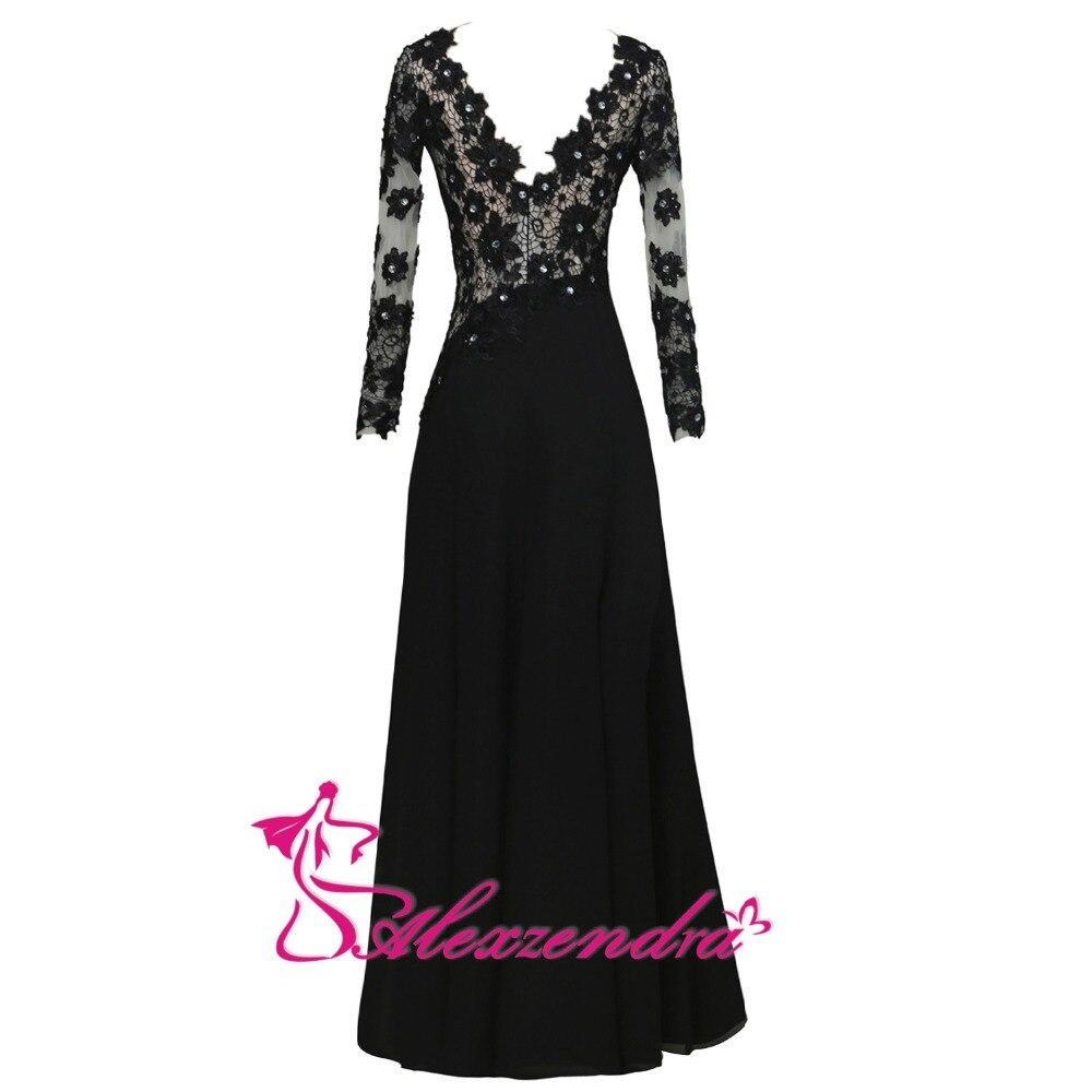 Alexzendra noir dentelle une ligne mère de mariée robe avec manches longues encolure dégagée longues robes de soirée grande taille - 2
