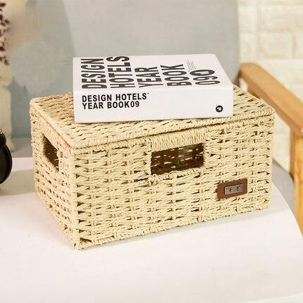 Straw storage box desktop rattan storage box book collection box with lid underwear snack woven basket in Storage Baskets from Home Garden