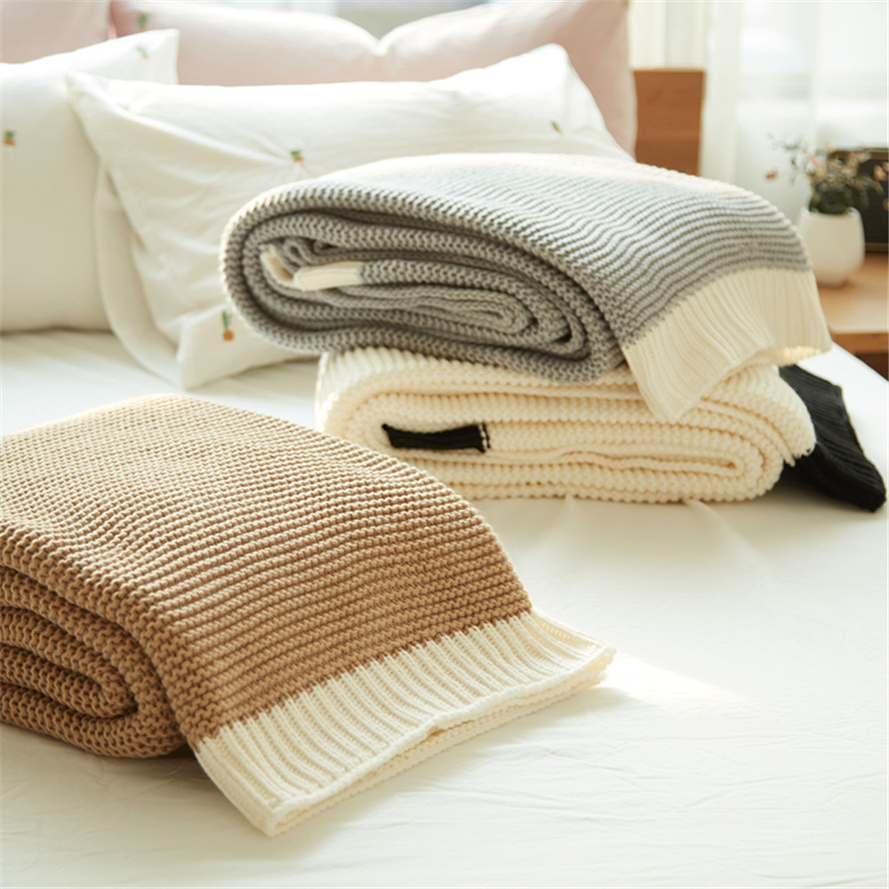 PanlongHome New Color Matching Knitted Blanket Modern Simple Sofa Blanket big size nordic navy blue gray mixed sofa cover blanket 130 170cm simple style wearable blanket sofa towel car blanket