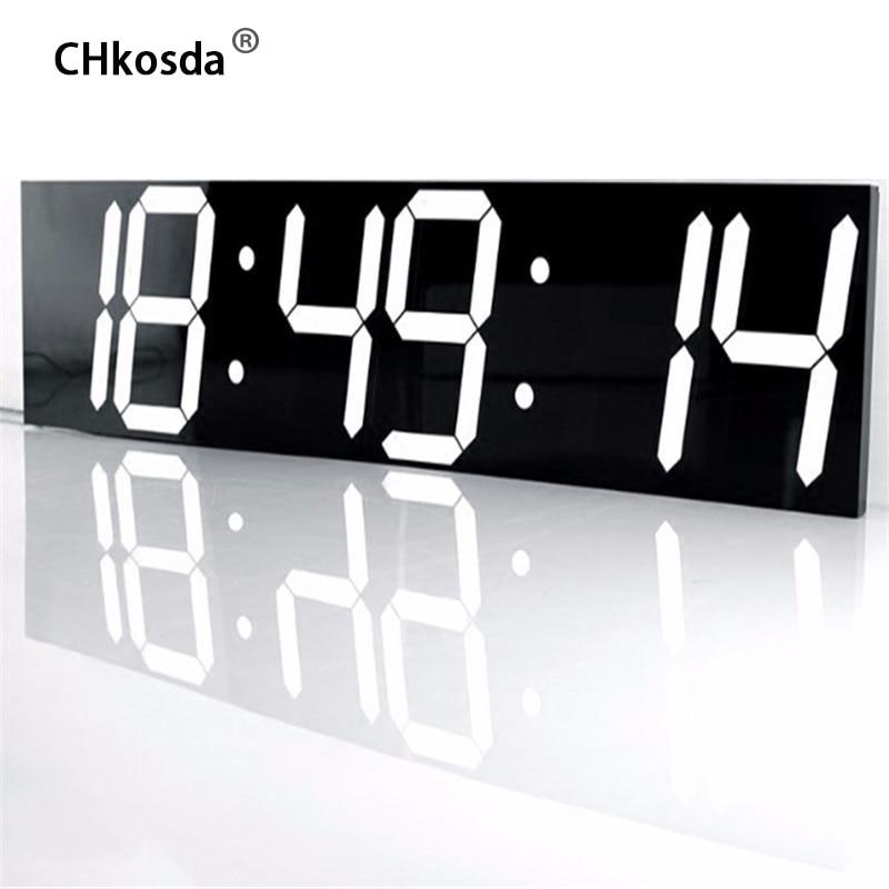 Chkosсветодио дный Da LED настенные часы большой домашний декор момент таймер Метеостанция цифровые часы стол Новый год украшения horloge росписи