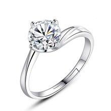 6mm cristal anel aberto ajustável resizable flor amor anel para feminino menina