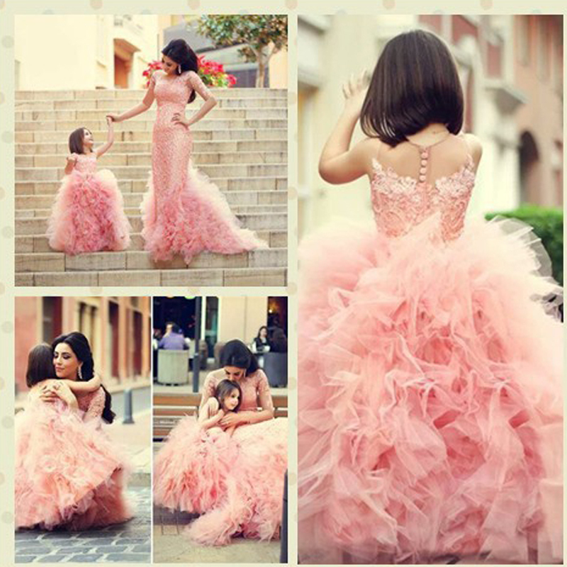 New Arrival Pink Children   Flower     Girl     Dresses   Bow Sash Beaded Appliques Tulle Ball Gown   Flower     Girl     Dresses   For Weddings 2015