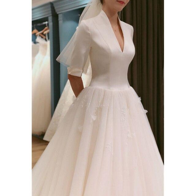 d22505d913 New Luxury Wedding Dress Satin Half Sleeve With Train V neck Formal Church  Vintage Bride Wedding Gown Vestido Novia Fashion 2019