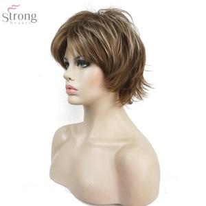 Image 5 - StrongBeauty 여성용 가발 블랙/와인 레드 BFluffy Short Straight Layered Hair 합성 가발