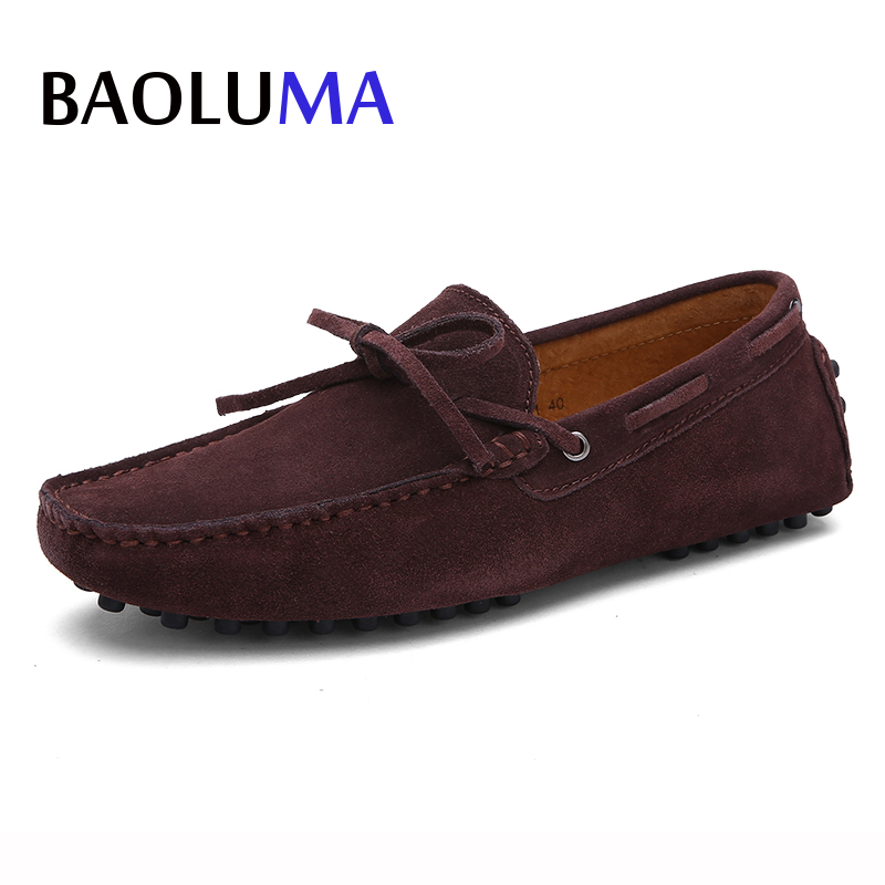 Handmade Suede Leather Shoes Casual Men Brand Summer Exquisite Bandage Design Non-slip Comfortable Men Casual Shoes 47 48 49