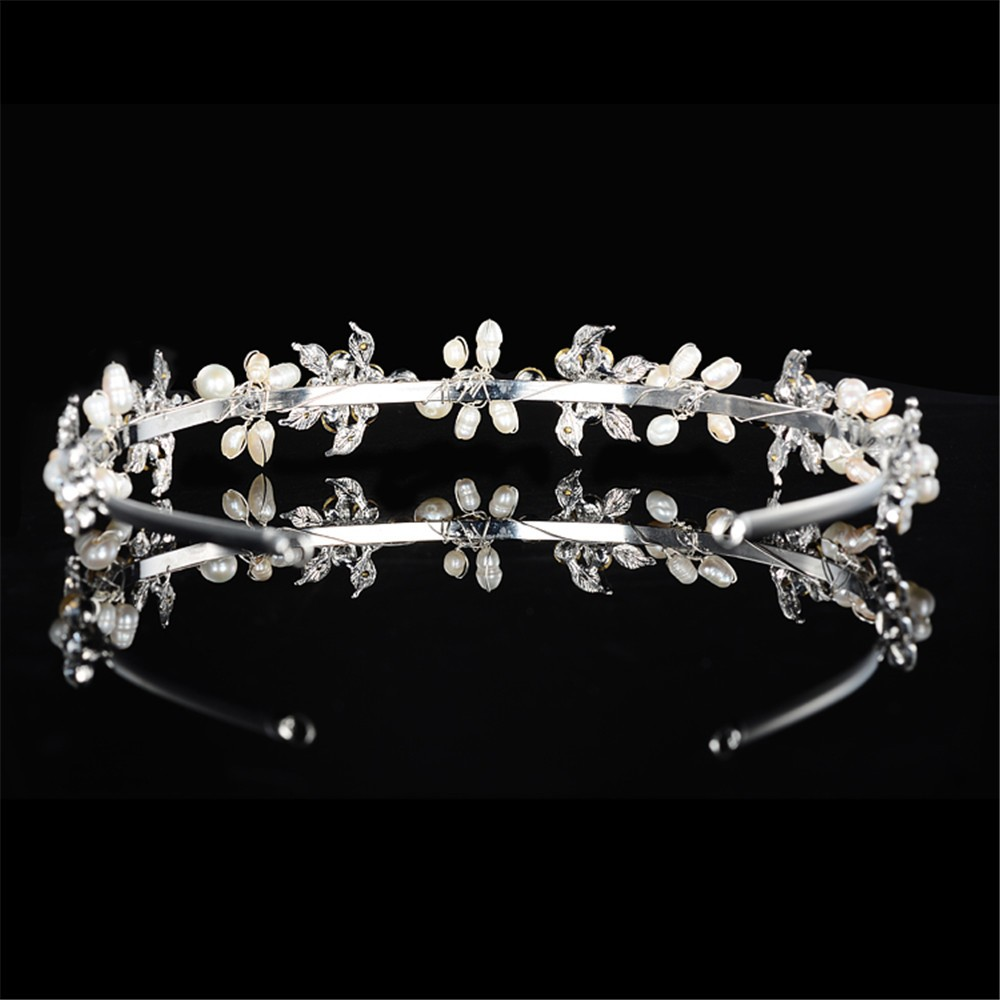 925 sterling silver cute pink flowers design tiara for women simulated pearl & Austrian crystal hair accessories wedding jewelry bridal crown HF042 (5)