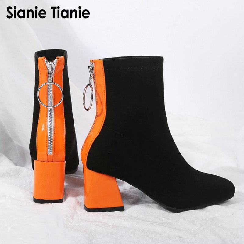 Sianie Tianie contraste couleur orange noir bloc talons hauts chaussures femme tissu stretch femmes bottines chaussettes chaussons taille 45 46