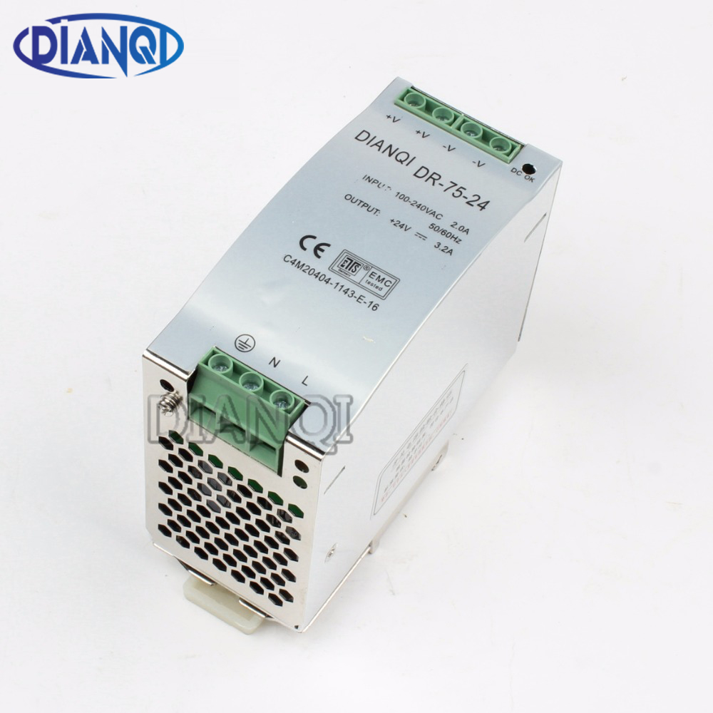 DIANQI Din rail power supply 75w 24V power suply 24V 12V 48V 75w ac dc converter DR-75-24 DR-75-48 DR-75-12 good quality цена
