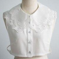 women embroidery organza collar white chiffon double layered detachable collars