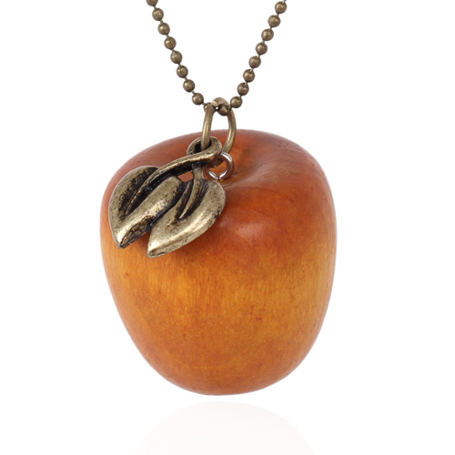 Vintage style funky wood apple charm pendant necklace with fresh vintage style funky wood apple charm pendant necklace with fresh leaf for women cute gift jewelry necklace nl 2188 in pendant necklaces from jewelry mozeypictures Image collections