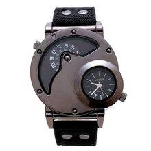 Lona Militar personalidad Doble Movimiento Dial Grande Reloj de Los Hombres de Cuarzo Deportes de La Moda de Cuero Reloj de Pulsera relogio FD0853