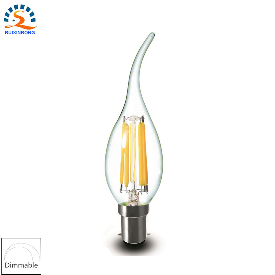 RXR High Quality B15 LED bulb 220V 6w C35L Bent Tip Design Dimmable LED Filament Candle bulb Ampoule LED Light Decorative