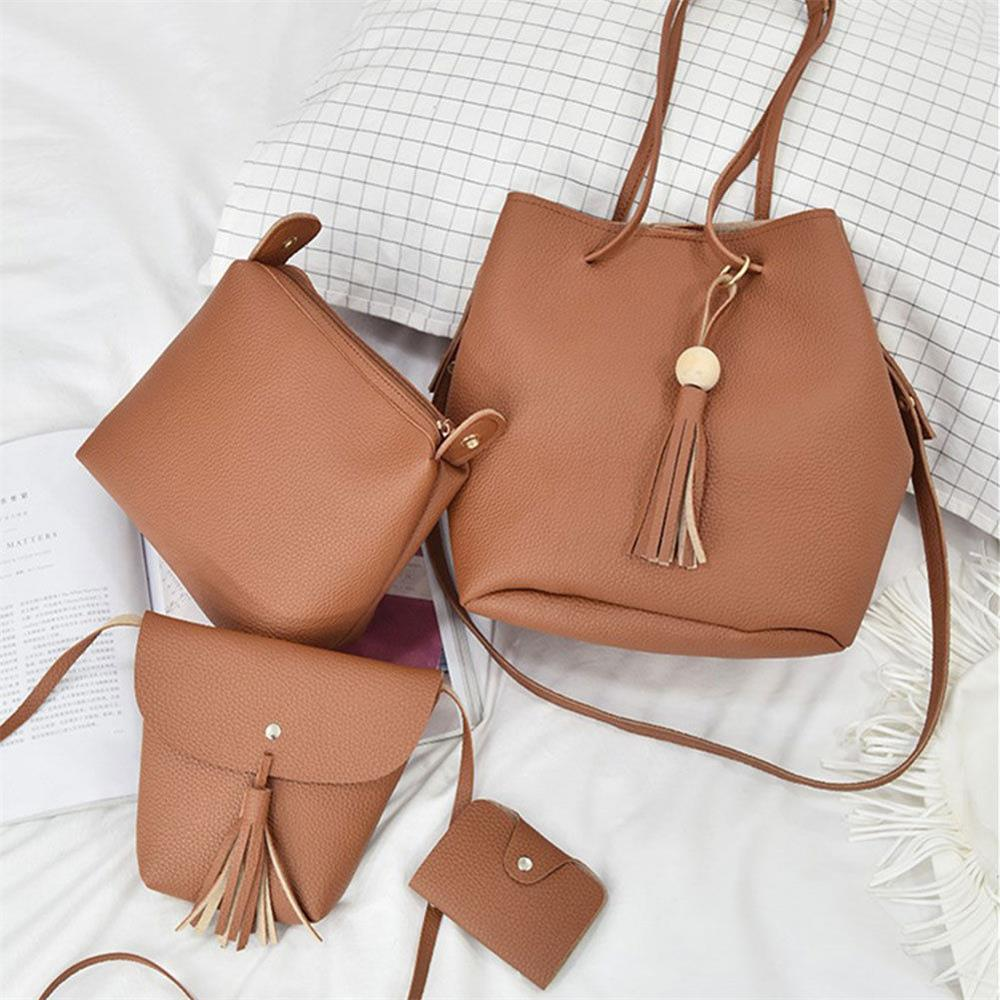 4Pcs Women Casual Leather Top-handle Handbag Tassel Shoulder Bag Tote Ladies Messenger Crossbody Bag Composite Bag Clutch Wallet new punk fashion metal tassel pu leather folding envelope bag clutch bag ladies shoulder bag purse crossbody messenger bag
