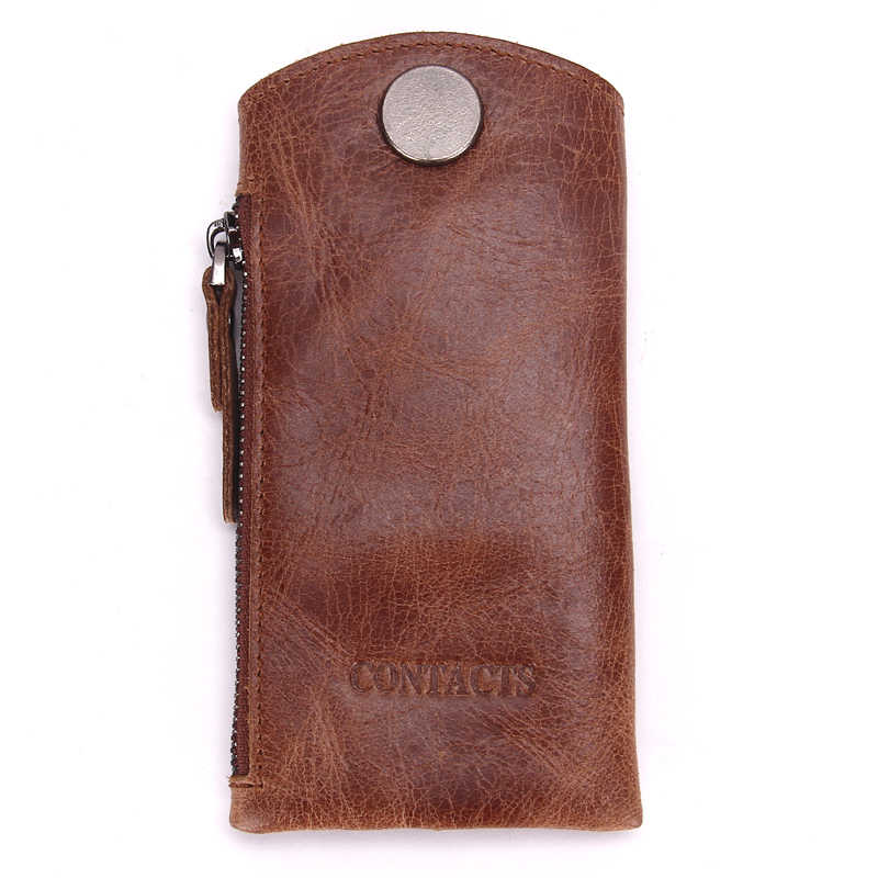 Винтажный Мужской кошелек из натуральной кожи для ключей для автомобиля, чехлы для ключей, кейс на молнии, сумка, мужской держатель для ключей, организатор ключей экономки