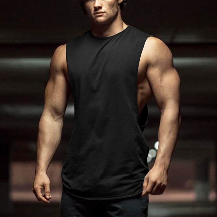 New Summer Gyms Fitness Bodybuilding Tank Tops Stringer Fashion Mens Workout Clothing Loose Open Side Sleeveless Shirts Vest