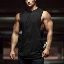 Novo verão ginásios fitness musculação tank topos stringer moda masculina roupa de treino solto lado aberto sem mangas camisas colete
