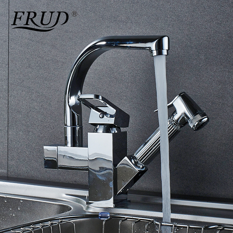 FRUD Pull Out Kitchen Faucets Shower Sprayer sink vessel kitchen sink faucet Dual Spout for Kitchen Deck Mount Mixer Taps Y40057 frap kitchen faucets pull out shower sprayer deck mount sink vessel kitchen sink faucet dual spout for kitchen mixer taps y40058