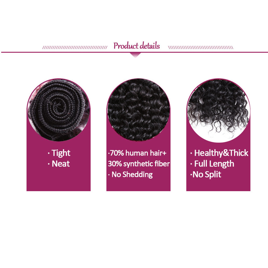 Altın Güzellik 8-14 inç 8 adet / paket Siyah Derin Dalga Sentetik - Sentetik Saç - Fotoğraf 6