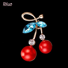 Luxury Red Cherry Jewelry Gold-color Crystals Accessories Brooches Corsage Hats Scarf Clips Hijab Pins For Women Kids