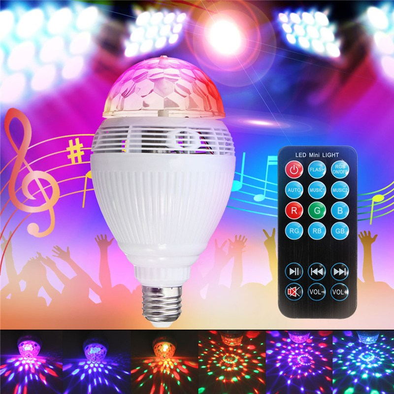Smuxi Smart LED Bulb Bluetooth Speaker LED RGB Light E27 Base Wireless Music Player with Remote Controller smuxi e27 led rgb wireless bluetooth speaker music smart light bulb 15w playing lamp remote control decor for ios android