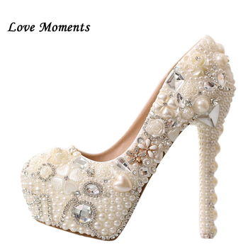 2018 New red pearl wedding shoe up heel platform shoes woman dress shoes light pink women's shoes pumps free shipping