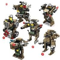 KAZI 6set Lot Transformation Weapons Military Blocks Toys Armored Car Robot Action Figures Building Blocks Toys