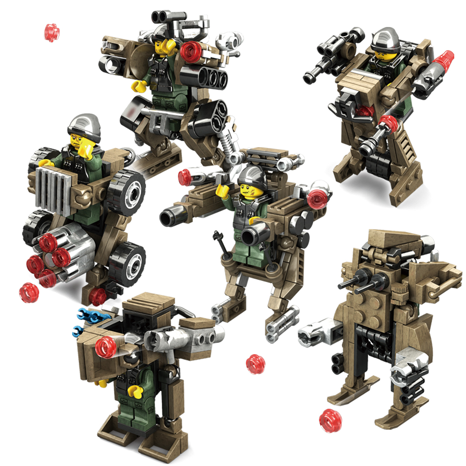 KAZI 6set/lot Transformation Weapons Military Blocks Toys Armored Car Robot Action Figures Building Blocks Compatible Legoe City meng badi 1pcs lot transformation toys mini robots car action figures toys brinquedos kids toys gift