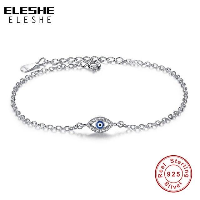 ELESHE Brand Link Chain Clear CZ Bracelet 925 Sterling Silver Blue Lucky Eye Crystal Charm Bracelet for Women Pulseira Jewelry