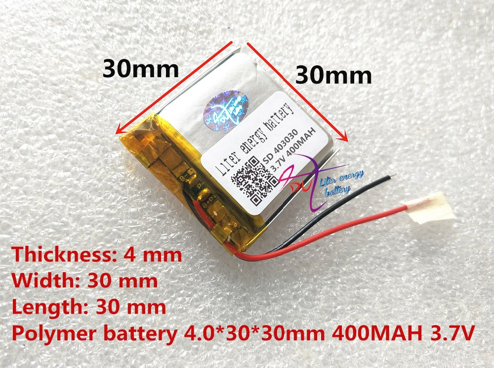 Polymer Lithium Ion / Li-ion Battery For Toy,power Bank,gps,mp3,mp4,cell Phone,speaker Colours Are Striking sd 403030 3.7v,400mah, Amiable 2pcs