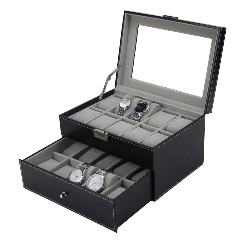 20 Grids Slots PU Leather Double Layers Watch Box Jewelry Display Storage Case Watches Container Organizer Box jinbei em 35x140 grids soft box
