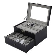 20 Grids Slots PU Leather Double Layers Watch Box Jewelry Display Storage Case Watches Container Organizer Box