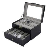 20 Sloty PU Leather Podwójne Warstwy Siatki Watch Box Biżuteria Wyświetlacz Storage Case Zegarki Pojemnik Organizator Box
