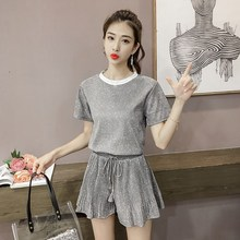 New Summer Women Casual Sliver Tops Wide Leg Shorts Fashion High Waist Lace Up Shorts 2 Piece Set Loose Beach Club Bright Suit loose fit thin straight leg lace up men s floral shorts