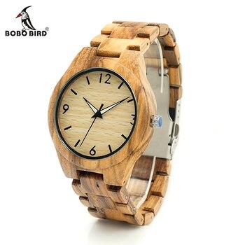 ボボ鳥V-G24ゼブラ木製ケースメンズ腕時計男性デザイン因果クォーツ時計木製ストラップレザーストラップ利用可能