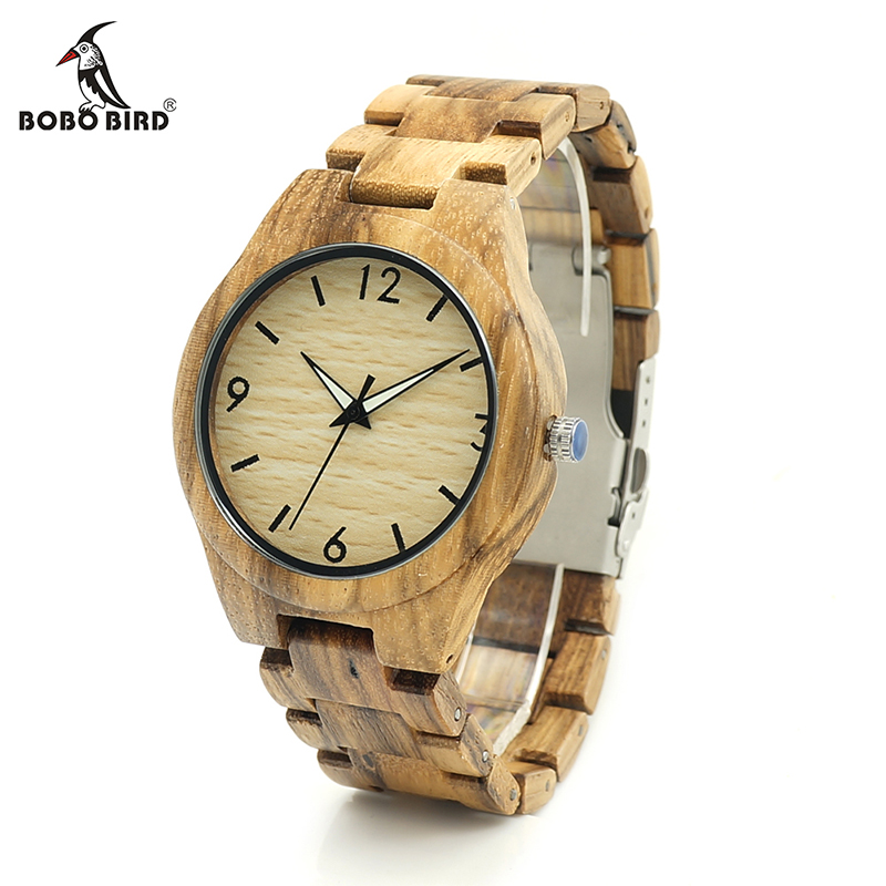 BOBO BIRD V-G24 Zebra Wooden Case Mens Wristwatch Male Design Causal Quartz Watch Wooden Strap Leather Strap Available