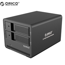 ORICO 9528U3 Aluminum Tool Free 2 bay 3.5″ SATA to USB 3.0 External Hard Drive Enclosure Support 2x 6TB Drive -Black