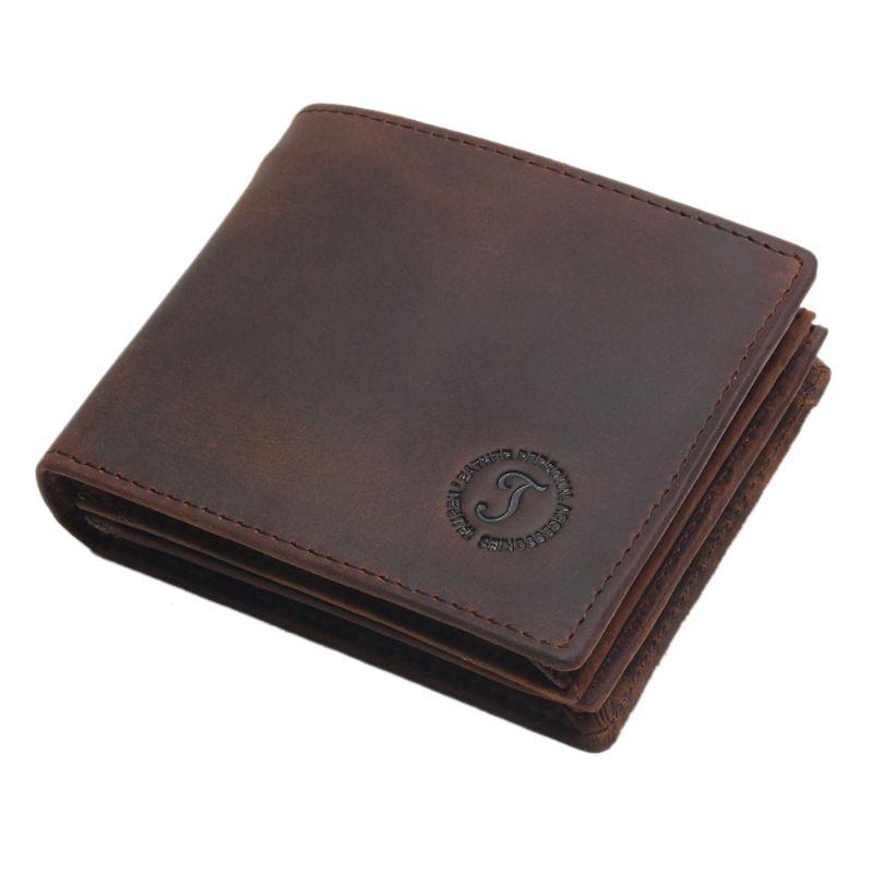 THINKTHENDO Fashion Men's Bifold Leather Wallet RFID Blocking ID Credit Card Holder Vintage Billfold Purse Clutch 9.3x11.3x2cm