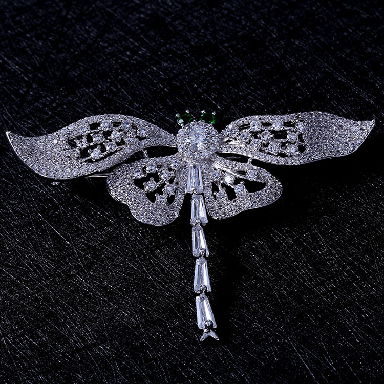 Nature Vintage Opens Green Eyes Flying Dragonfly Brooches Full Pave & - Fashion Jewelry - Photo 6